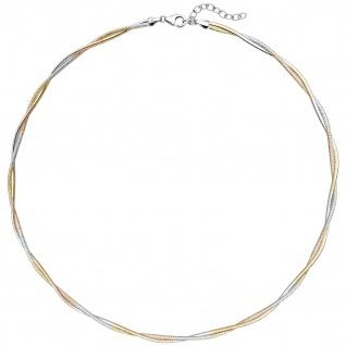 Collier Halskette 925 Sterling Silber bicolor vergoldet 49 cm Kette