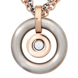 Collier Kette mit Anhänger rund Edelstahl und SWAROVSKI® ELEMENT 42 cm Halskette