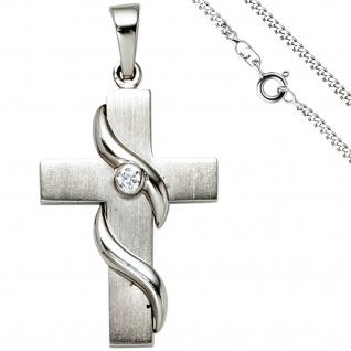 Anhänger Kreuz 925 Silber 1 Zirkonia Kreuzanhänger Silberkreuz mit Kette 60 cm