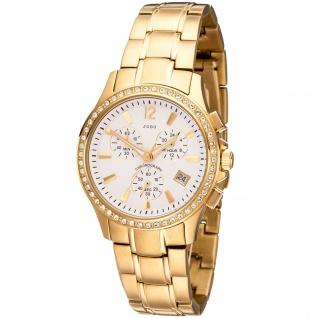 JOBO Damen Armbanduhr Quarz Chronograph Edelstahl vergoldet SWAROVSKI® ELEMENTS