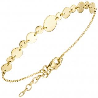 Armband mit Plättchen 925 Sterling Silber gold vergoldet 20 cm