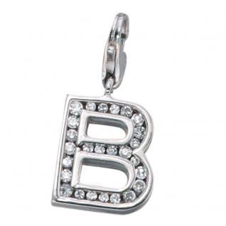 Einhänger Charm Buchstabe B 925 Sterling Silber mit Zirkonia