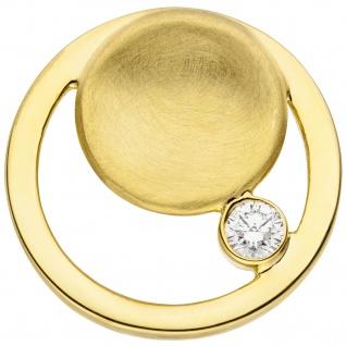 Anhänger rund 585 Gold Gelbgold teil matt 1 Diamant Brillant Goldanhänger