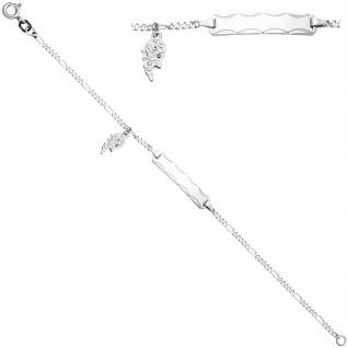 Schildband Flügel 925 Sterling Silber diamantiert 14 Zirkonia 16 cm