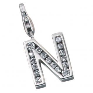 Einhänger Charm Buchstabe N 925 Sterling Silber mit Zirkonia
