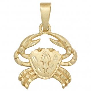 Anhänger Sternzeichen Krebs 585 Gold Gelbgold matt Sternzeichenanhänger