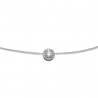 Collier Halskette Silikon mit 925 Sterling Silber und 16 Zirkonia 45 cm Kette - Vorschau 2