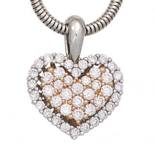 Anhänger Herz 585 Gold Weißgold Rotgold bicolor 43 Diamanten Brillanten - Vorschau 2