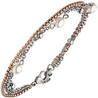 Armband 3-reihig Edelstahl bicolor beschichtet 21 cm mit Kristallsteinen