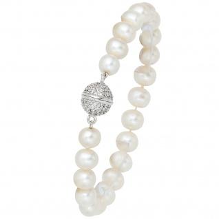 Perlenarmband Süßwasser Perlen 20 cm Verschluss 925 Silber mit Zirkonia Armband
