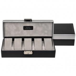 Sacher Uhrenetui Uhrenkasten Uhrenbox CARVON schwarz silbern für 5 Uhren