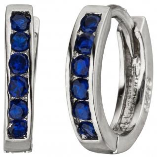 Creolen 925 Silber 12 Zirkonia blau Ohrringe Silberohrringe