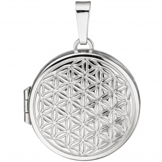 Medaillon Blume des Lebens rund Anhänger zum Öffnen 925 Silber mit Kette 60 cm - Vorschau 5