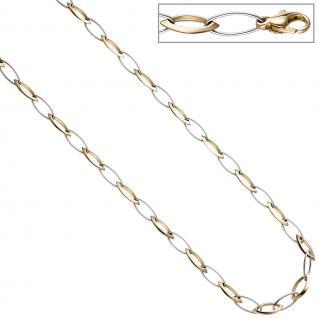 Collier Halskette 333 Gold Gelbgold Weißgold bicolor 45 cm Kette Goldkette