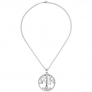 Collier Kette mit Anhänger Baum Edelstahl 7 bunte Kristalle 45 cm Halskette