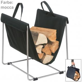 Blomus Holztrage MADRA, Textil mocca mit Edelstahl matt kombiniert