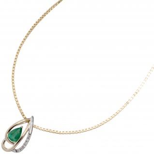 Anhänger 585 Gelbgold bicolor 6 Diamanten Brillanten 1 Smaragd grün Goldanhänger - Vorschau 3