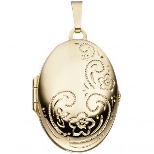 Medaillon oval für 2 Fotos 333 Gold Gelbgold Anhänger zum Öffnen