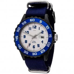JOBO Kinder Armbanduhr Quarz Analog schwarz blau Kinderuhr mit Datum