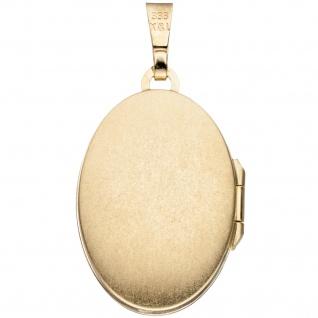 Medaillon oval für 2 Fotos 333 Gold Gelbgold bicolor matt Anhänger zum Öffnen - Vorschau 2