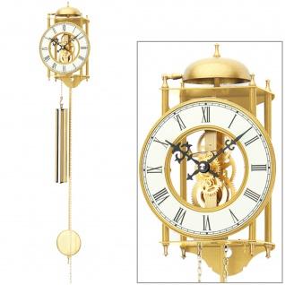 AMS 303 Wanduhr mit Pendel mechanisch golden Metall Pendeluhr Skelettuhr