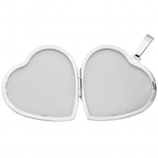 Medaillon Herz Flügel Engelsflügel 925 Silber matt Foto Anhänger zum Öffnen - Vorschau 3