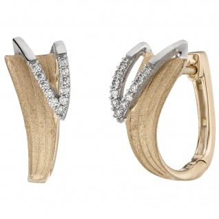 Creolen 585 Gold Gelbgold bicolor matt 22 Diamanten Brillanten Ohrringe
