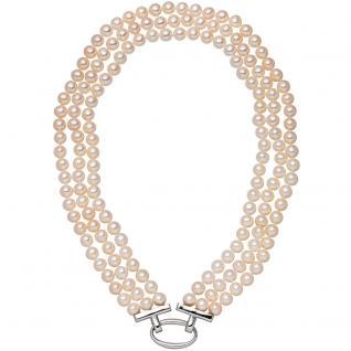 Perlenkette 3-reihig mit Süßwasser Zuchtperlen 45 cm Schließe 925 Silber