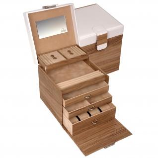 Sacher Schmuckkoffer Schmuckkasten NORDIC STYLE weiß und Holz-Optik Uhrenfach - Vorschau 2