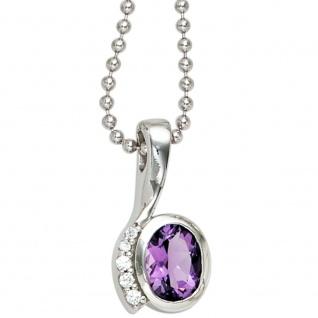 Anhänger 925 Sterling Silber rhodiniert mit Zirkonia lila violett - Vorschau 3