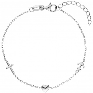 Armband Glaube Liebe Hoffnung 925 Sterling Silber 19 cm