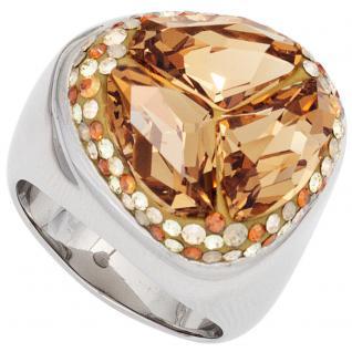 Damen Ring breit aus Edelstahl mit Zirkonia champagner