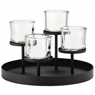 Blomus Kerzenleuchter NERO rund Stahl pulverbeschichtet mit Glas kombiniert