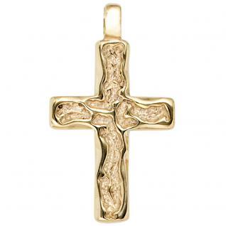 Anhänger Kreuz 585 Gold Gelbgold gehämmert Kreuzanhänger Goldkreuz