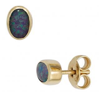 Ohrstecker oval 585 Gold Gelbgold 2 Opal-Tripletten Ohrringe Opalohrringe