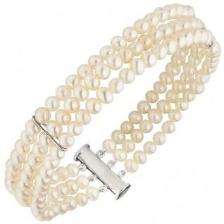 Armband 3-reihig Süßwasser Perlen und 925 Sterling Silber 20 cm Perlenarmband