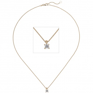 Collier Kette mit Anhänger 585 Gold Rotgold 1 Diamant Brillant 0, 70 ct. 45 cm
