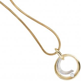 Anhänger rund 585 Gold Gelbgold Weißgold bicolor 1 Diamant Brillant 0, 10ct. - Vorschau 4
