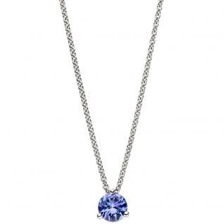 Collier Kette mit Anhänger 585 Gold Weißgold 1 Tansanit blau 42 cm Halskette - Vorschau 2