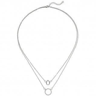 Kette mit Anhängern 2-reihig 925 Sterling Silber 28 Zirkonia 46 cm Halskette