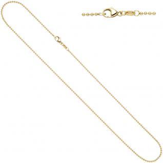 Kugelkette 585 Gelbgold 1, 5 mm 42 cm Gold Kette Halskette Goldkette Karabiner