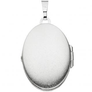 Medaillon oval 925 Sterling Silber eismatt Anhänger zum Öffnen - Vorschau 2
