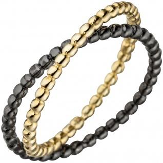 Damen Ring Kugel 925 Sterling Silber gold schwarz bicolor vergoldet Kugelring