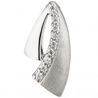 Anhänger 925 Sterling Silber teil matt 9 Zirkonia Silberanhänger