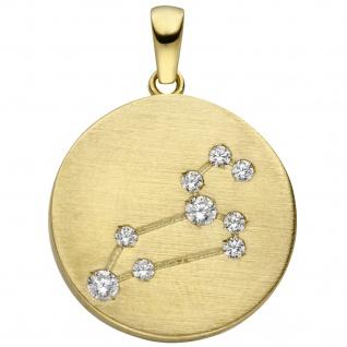 Anhänger Sternzeichen Löwe 333 Gold Gelbgold matt 9 Zirkonia Goldanhänger