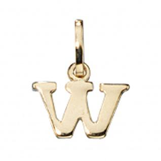 Anhänger Buchstabe W 333 Gold Gelbgold Buchstabenanhänger