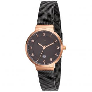 JOBO Damen Armbanduhr Quarz Analog Edelstahl bicolor plattiert Datum Damenuhr