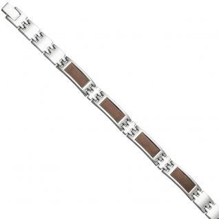 Herren Armband aus Edelstahl mit braunen Carbon Einlagen 21 cm
