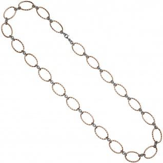 Halskette Kette 925 Sterling Silber bicolor vergoldet 80 cm Karabiner