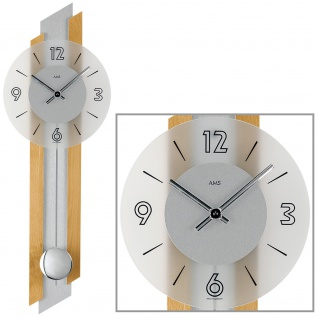 AMS 7207/18 Wanduhr Quarz analog silbern Holz Buche massiv Pendeluhr mit Glas